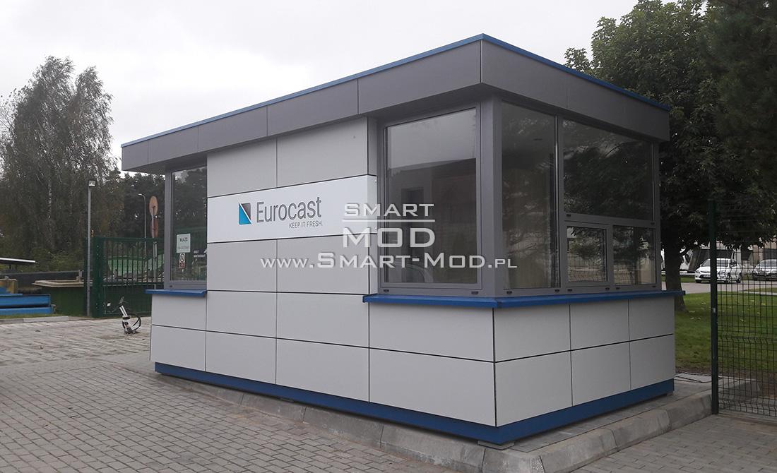 portiernie modułowe kontenerowa z reklamą zintegrowaną w elewację