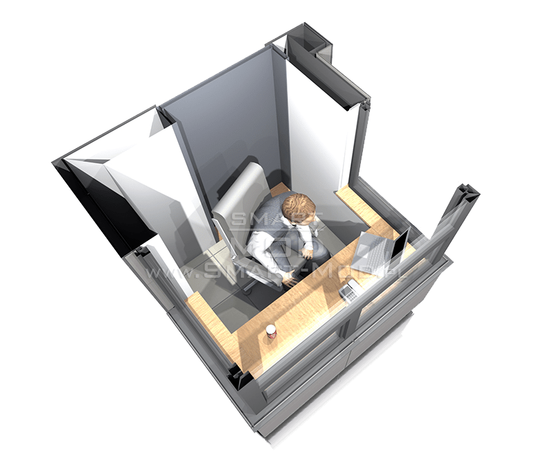 stróżówka modułowa rzut 3d